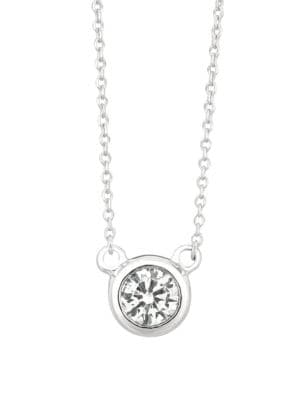 Diamond and 14k White Gold Round Pendant Necklace