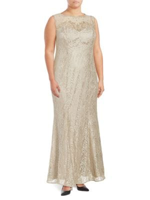 Plus Plus Sleeveless Embellished Lace Column Gown by Xscape