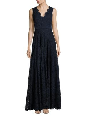 Solid Floral Lace Floor-Length Gown by Vera Wang