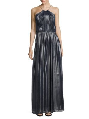Foil Pleated Gown by Vera Wang