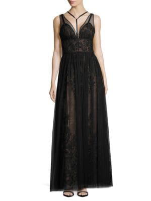 Deep-V Mesh and Lace Gown by Vera Wang