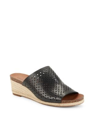 Photo of Jemya Leather Wedge Sandals by Lucky Brand - shop Lucky Brand shoes sales
