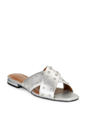 Studded Leather Criss-Cross Sandals by H Halston