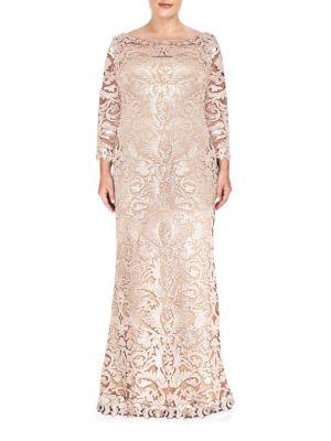 Embellished Lace Long-Sleeve Gown by Tadashi Shoji