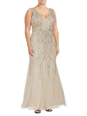 ??leeveless Embellished Trumpet Gown by Xscape