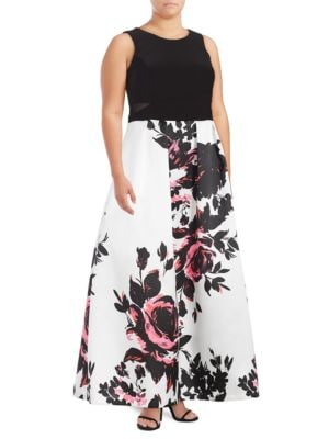 Floral Contrast Gown by Xscape