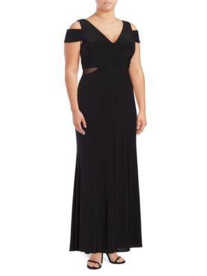 Mesh-Accented Cold-Shoulder Gown by Xscape