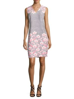 Floral-Print V-Neck Sleeveless Dress by Karl Lagerfeld Paris