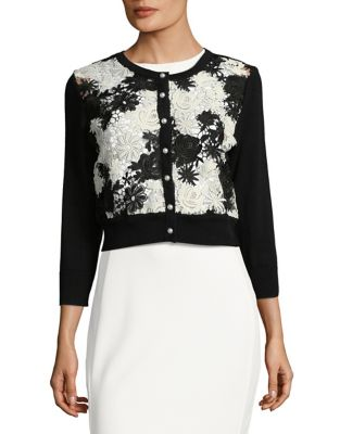 Lace-Accented Cardigan by Karl Lagerfeld Paris