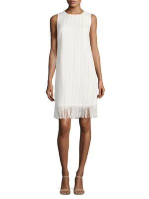 Photo of Sleeveless Textured Fringed Dress by Karl Lagerfeld Paris - shop Karl Lagerfeld Paris dresses sales