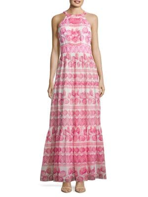 Chiffon Printed Flare Gown by Eliza J