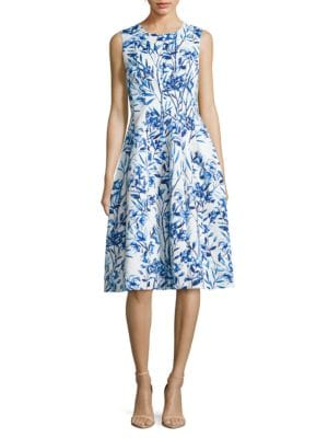 Jewelneck Sleeveless Printed Dress by Eliza J