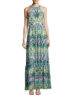 Green Floral Print Halter Dress by Eliza J