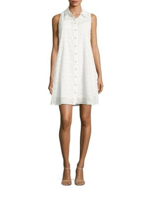 Sleeveless Spread-Collar Shirtdress by Calvin Klein