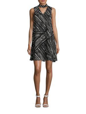 Sleeveless Printed Choker Dress by Calvin Klein