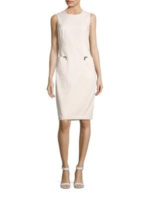 Jewelneck Cotton-Blend Sheath Dress by Calvin Klein