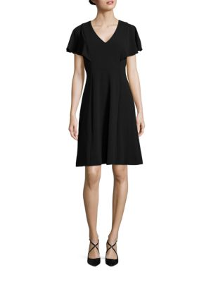 Solid V-Neck Flare Dress by Calvin Klein