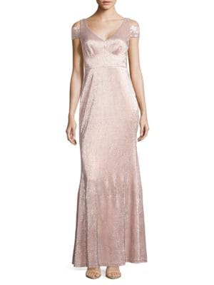 Metallic Cold-Shoulder Gown by Calvin Klein