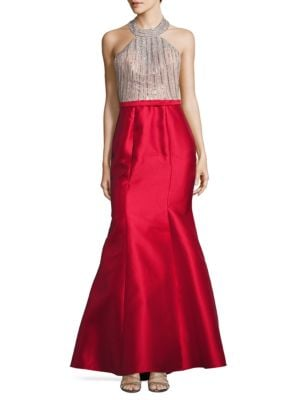 Embellished Two-Tone Halter Trumpet Gown by Xscape