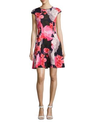 Floral Printed Fit and Flare Dress by Vince Camuto