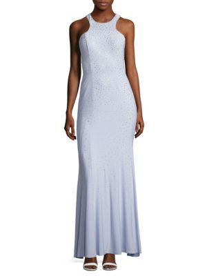 Rhinestone Sleeveless Column Gown by Xscape