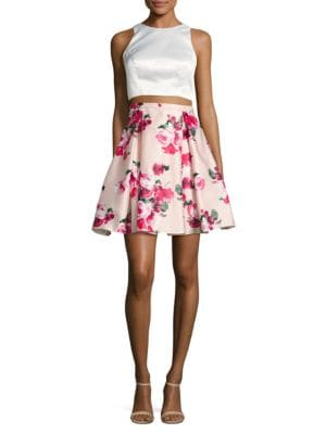 Cropped Top and Floral Skirt Set by Xscape