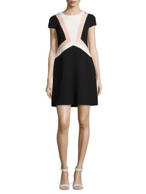 Jewelneck Colorblock Dress by Vince Camuto