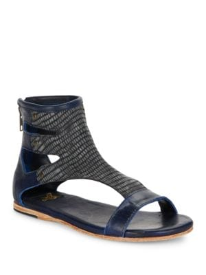 Devil Snake Skin Printed T-Strap Sandals by Freebird By Steven