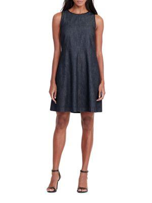 Faux-Leather-Trimmed Denim Dress by Lauren Ralph Lauren