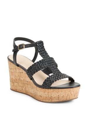 Tianna Woven Leather Cork Platform Wedge Sandals by Kate Spade New York