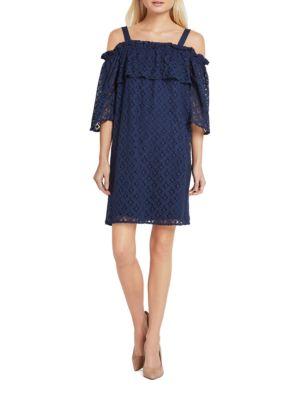 Floral-Lace Off-The-Shoulder Dress by BCBGeneration