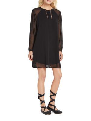 Crochet-Trimmed A-Line Dress by BCBGeneration