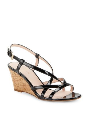 Photo of Rockaway Patent Leather Wedge Sandals by Kate Spade New York - shop Kate Spade New York shoes sales