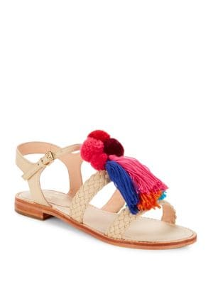 Sunset Tassel-Accented Faux Leather Sandals by Kate Spade New York