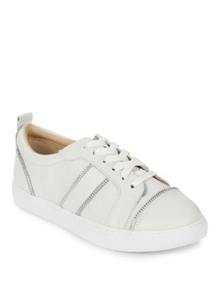 Harvey Zip-Accented Leather Sneakers by Botkier New York