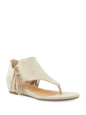 Adina Suede Fringe Thong Sandals by Me Too