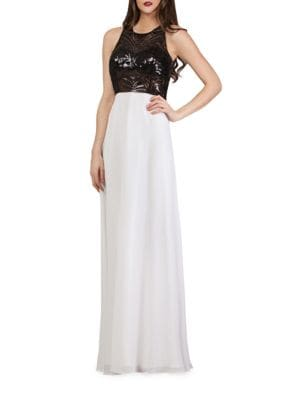 Sequin Colorblocked Gown by Js Collections