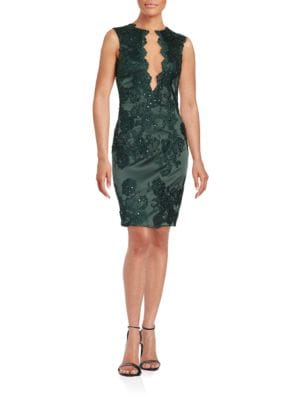 Mesh-Paneled Sequin Sheath Dress by Julian Joyce