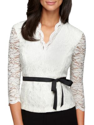 Elbow Sleeve Lace Knit Top by Alex Evenings