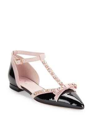 Becca Patent Leather T-Strap Flats by Kate Spade New York