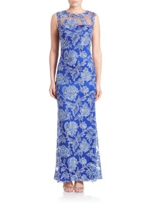 Embroidered Illusion Gown by Tadashi Shoji