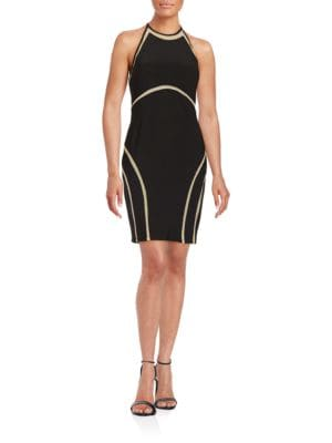 Mesh-Accented Halter Dress by Xscape