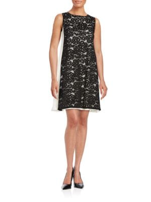 Lace-Accented Trapeze Dress by Adrianna Papell