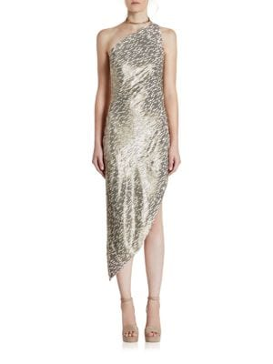 One-Shoulder Asymmetrical Sequin Dress by Halston Heritage