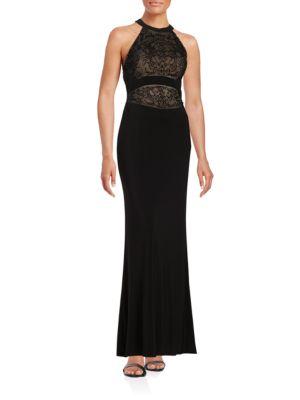 Beaded Halter Gown by Badgley Mischka Platinum