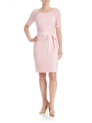 Lace Sleeved Sheath Dress by Nue By Shani