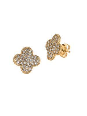 0.74TCW Diamond and 14K Yellow Gold Stud Earrings