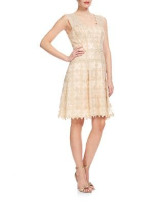Textured Fit and Flare Dress by Kay Unger