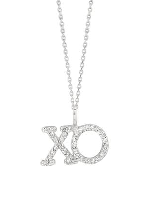 Image of 0.19 TCW Diamond and 14K White Gold XO Pendant Necklace