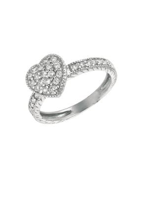 0.5 TCW Diamond and 14K White Gold Heart Ring